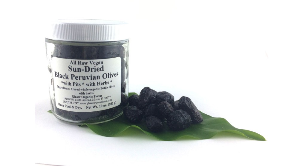 Olives, Black, Peru, WITH PITS, with Herbs, Sun-dried, Certified Organic, 10 oz.