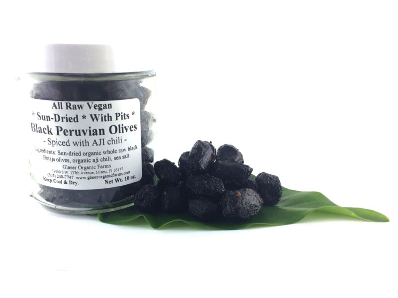 Olives, Black, Peru, WITH PITS, with Aji, Sun-dried, Certified Organic, 10 oz.