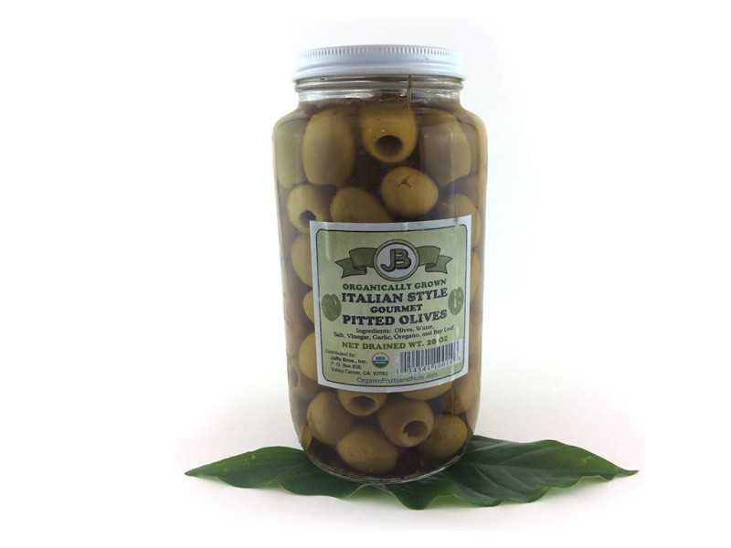 Olives, Green, ITALIAN, (no pits), Italian Style Spiced, in Brine, Certified Organic, 20 oz.