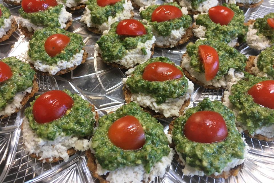 raw vegan organic pesto and nut cheese snacks