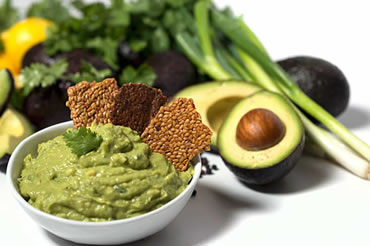fresh hand made guacamole from organic avocado