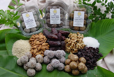 our delicious assortment fruit and nut balls presented with ingredients