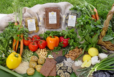 Raw Vegan Crackers and Ingredients including Peppers, Lemons, Chickpeas, Nori, Various Nuts and more