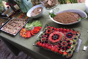 buffet of vegan organic raw foods, fruit pies, puddings, and salads